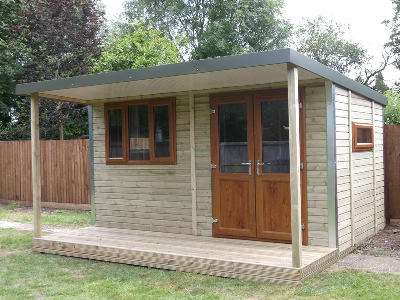 40m x 35m pent garden workshop with veranda dark oak half glazed french doors - Garden Sheds With Veranda